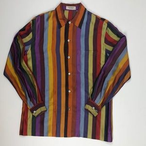 Vintage Equipment Silk Size Medium Striped Shirt